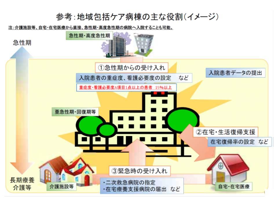 地域包括ケア病棟には、(1)急性期からの受け入れ(2)在宅・生活復帰支援(3)緊急時の受け入れ―という3つの機能が求められる