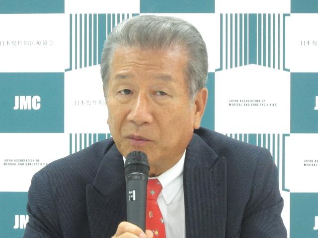 7月16日の日本慢性期医療協会・定例記者会見で、SNW(Skilled Nursing Ward、病院内施設)を提唱する武久洋三会長