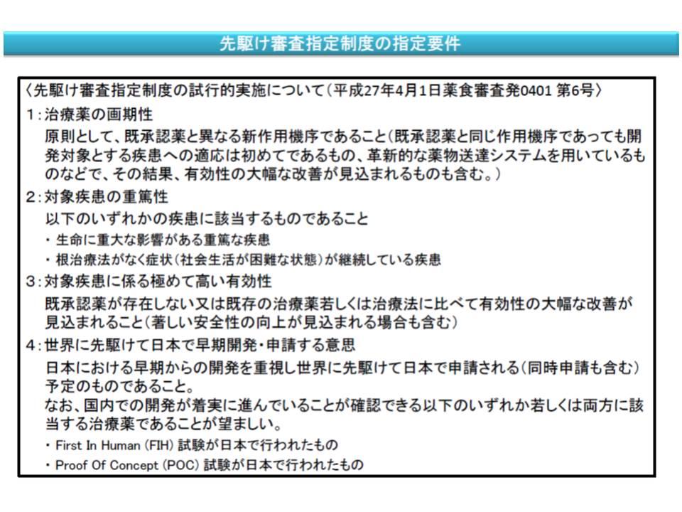 先駆け審査指定制度の指定要件