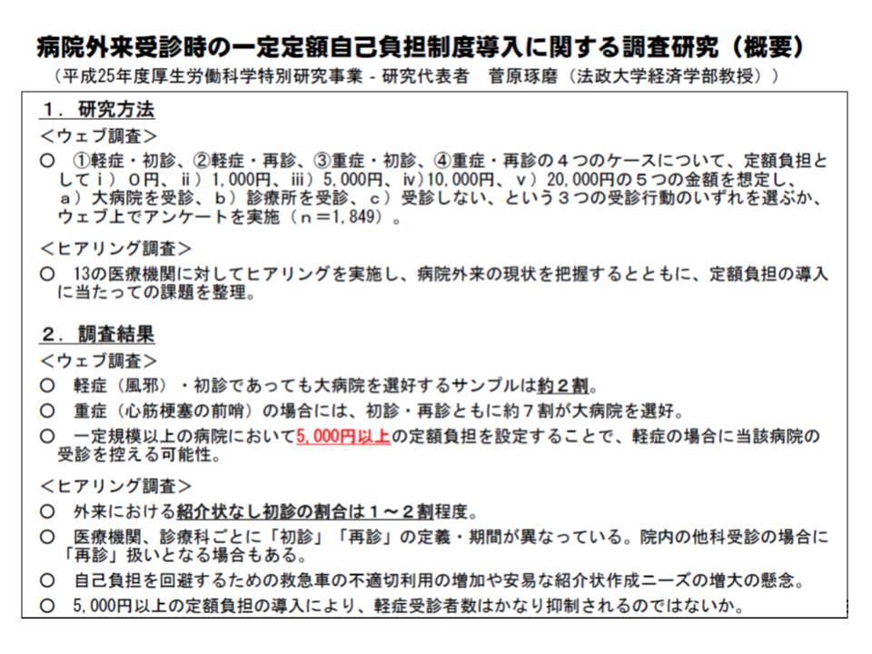 定額負担が5000円以上になると、軽症の場合に大病院受診を控える傾向にあることが研究から分かっている