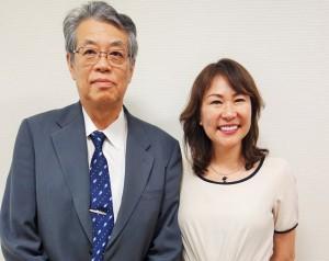 取材を終えた有賀理事長(左)と渡辺