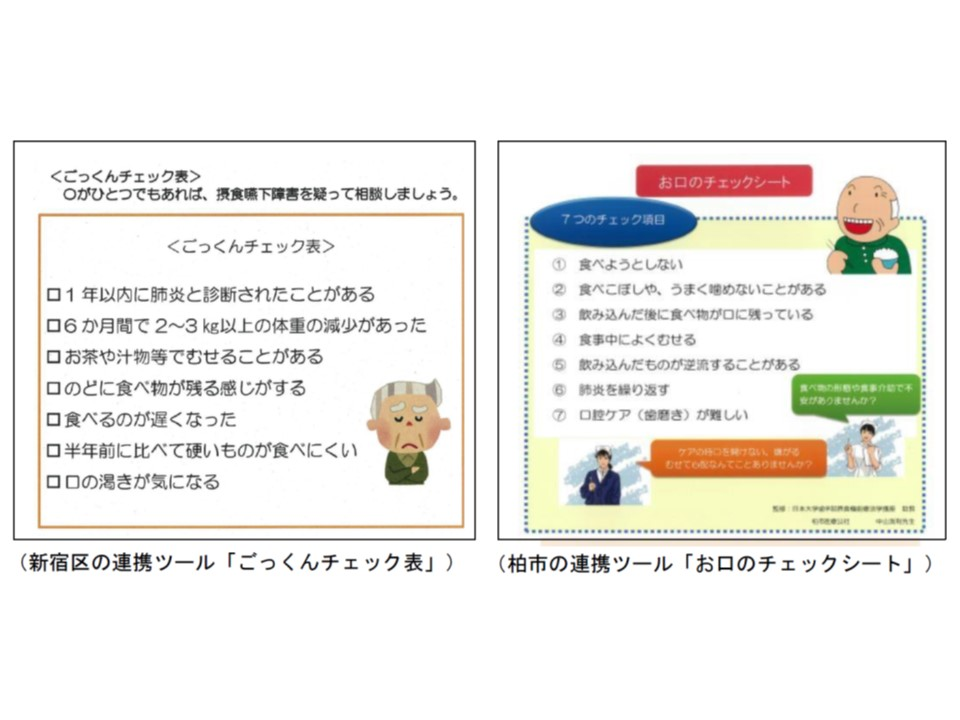 多職種連携ツールの例、新宿区の『ごっくんチェック表』、柏市の『お口のチェックシート』