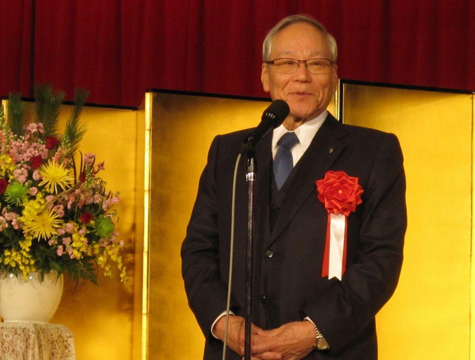 1月13日に開催された四病院団体協議会賀詞交歓会で挨拶した、日本医師会の横倉義武会長
