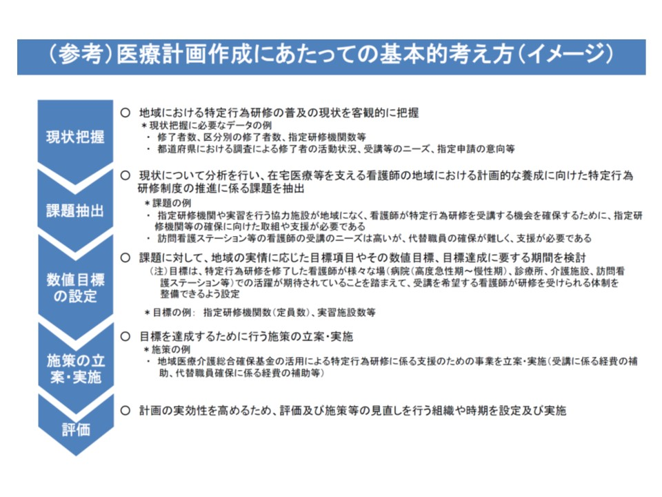 特定行為研修を行う施設(指定研修施設)の整備に関する計画を医療計画に記載する際のイメージ(その2)