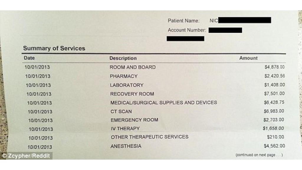 (写真2)虫垂切除術をしたある保険加入者が受け取った請求書の内訳