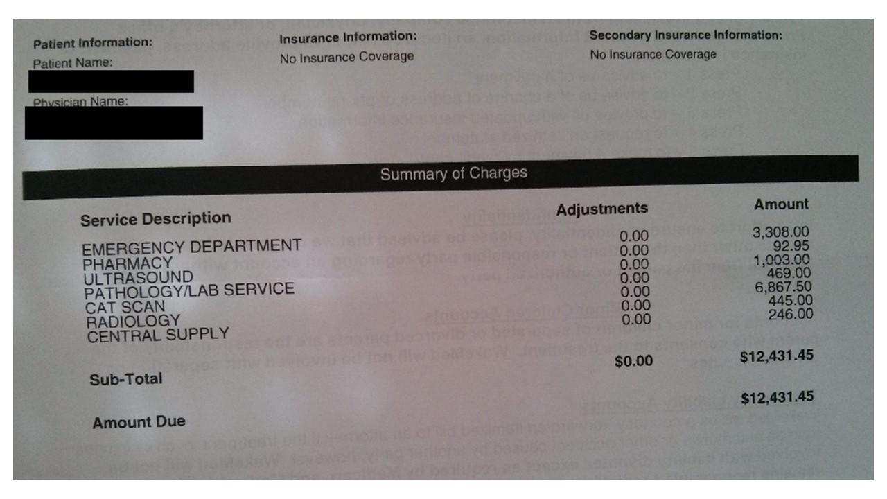 (写真1)ある無保険者が受け取った請求書