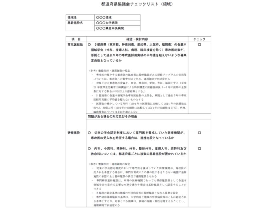 都道府県協議会では、都市部に専攻医が集中するような研修プログラムになっていないか、従来の研修施設が漏れていないか、などをチェックする