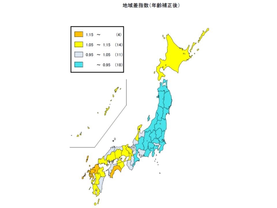 地域差指数(年齢構成を調整し、医療費が平均からどれだけ離れているかを指数化)のマップ。西日本で高い地域(オレンジ色)が多く、東日本で低い地域(青色)が多いことが分かる