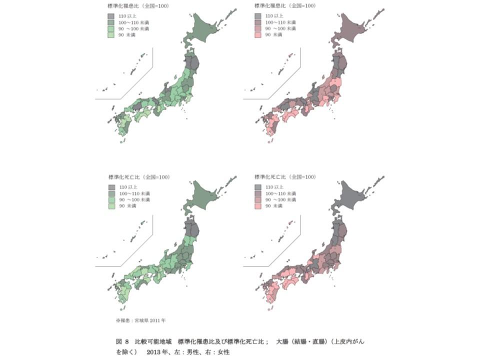 大腸がんの、男女別、都道府県別にみたがんの罹患比と死亡比