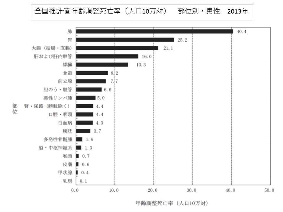 男性の部位別にみた年齢調整死亡率(人口10万対)、肺がんが40.4でトップ