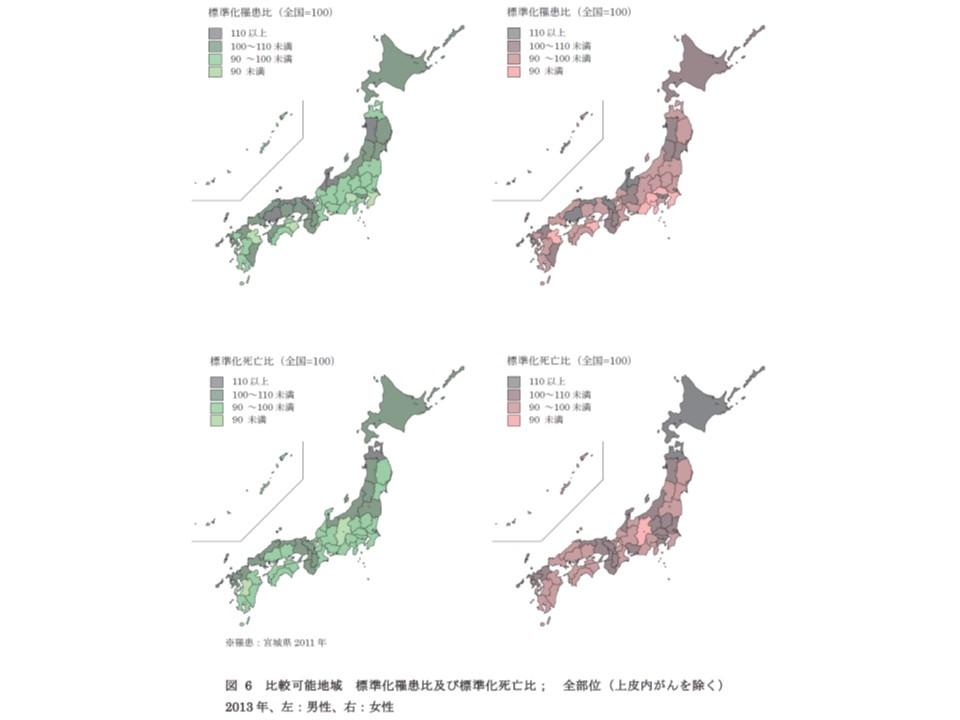 全部位、男女別、都道府県別にみたがんの罹患比と死亡比