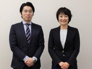 川崎幸病院事務部の植田宏幸事務部長(左)、石心会法人事務局の鍋嶌紋子地域医療推進室長