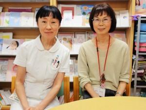 湘南記念病院の乳がんセンター立ち上げ当初からピアサポーターとして活躍する山口ひとみ氏(右)と土井氏。