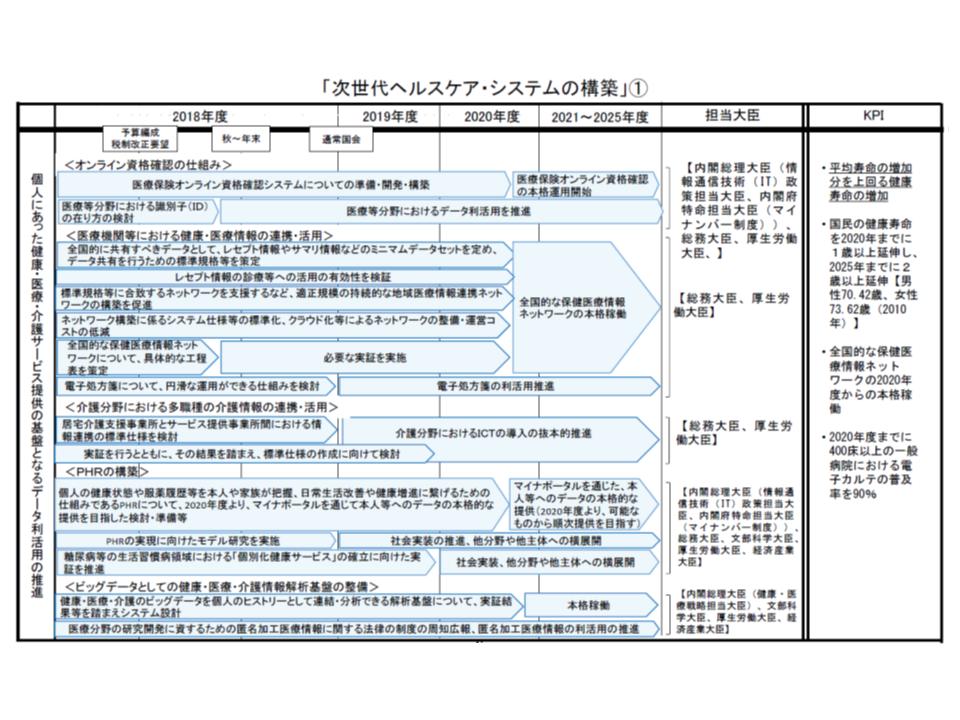 次世代ヘルスケア・システム構築に向けた工程表(その1)