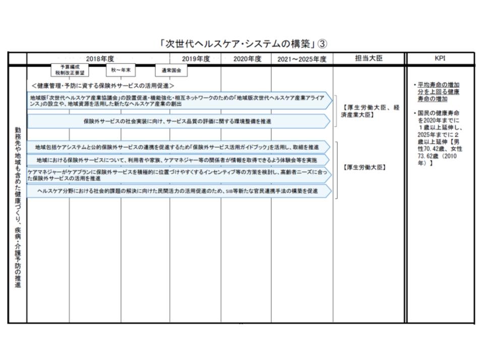 次世代ヘルスケア・システム構築に向けた工程表(その3)