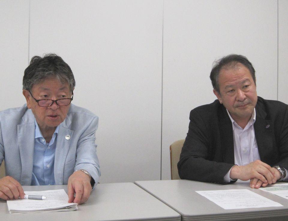 6月20日の四病院団体協議会・総合部会後に記者会見に臨んだ、日本精神科病院協会の山崎學会長(向かって左)と、日本病院会の島弘志副会長(向かって右)