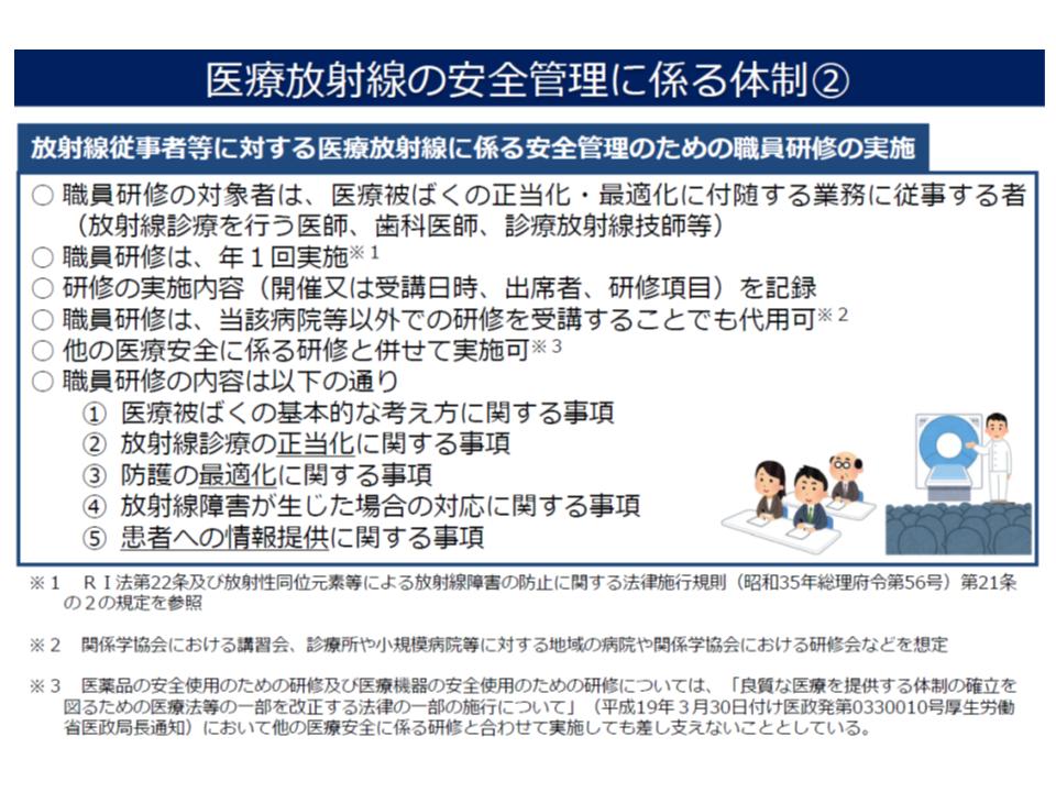 医療法施行規則を改正し(2020年4月施行予定)、医療機関の管理者に「医療放射線に係る安全管理」を義務付ける(その3)