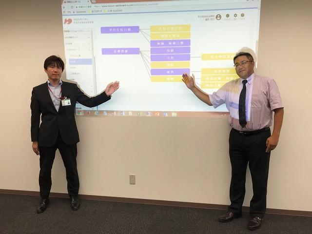 病院ダッシュボードχでの改善状況を紹介する医療情報部医療情報管理室 主任 三谷 厚志氏(左) ※右はGHCの冨吉