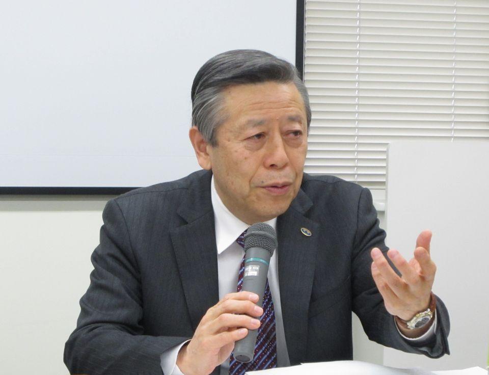 2月26日の定例記者会見に臨んだ、日本病院会の相澤孝夫会長(社会医療法人財団慈泉会相澤病院理事長)