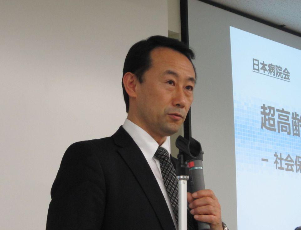 3月23日の日本病院会社員総会で特別講演を行った、経済産業省の商務情報政策局商務・サービスグループの江崎禎英商務・サービス政策統括調整官